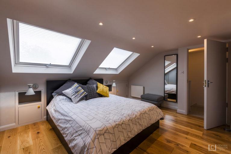 Blackheath loft conversion featuring modern bedroom