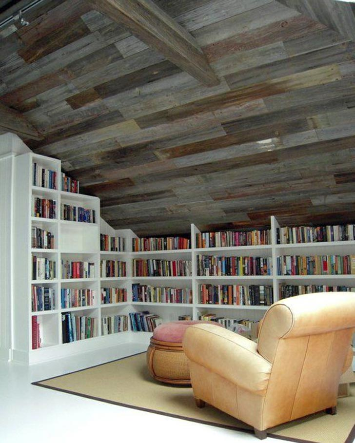 Library home office in attic