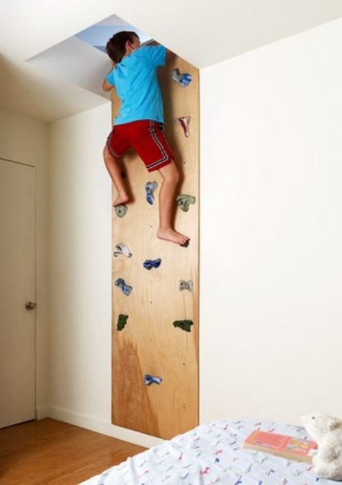 indoor climbing wall in boys bedroom