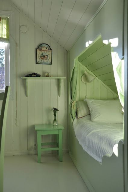 Green boys bedroom in small attic