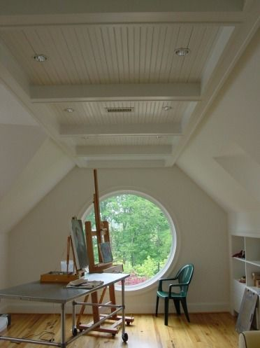 Home office round window loft