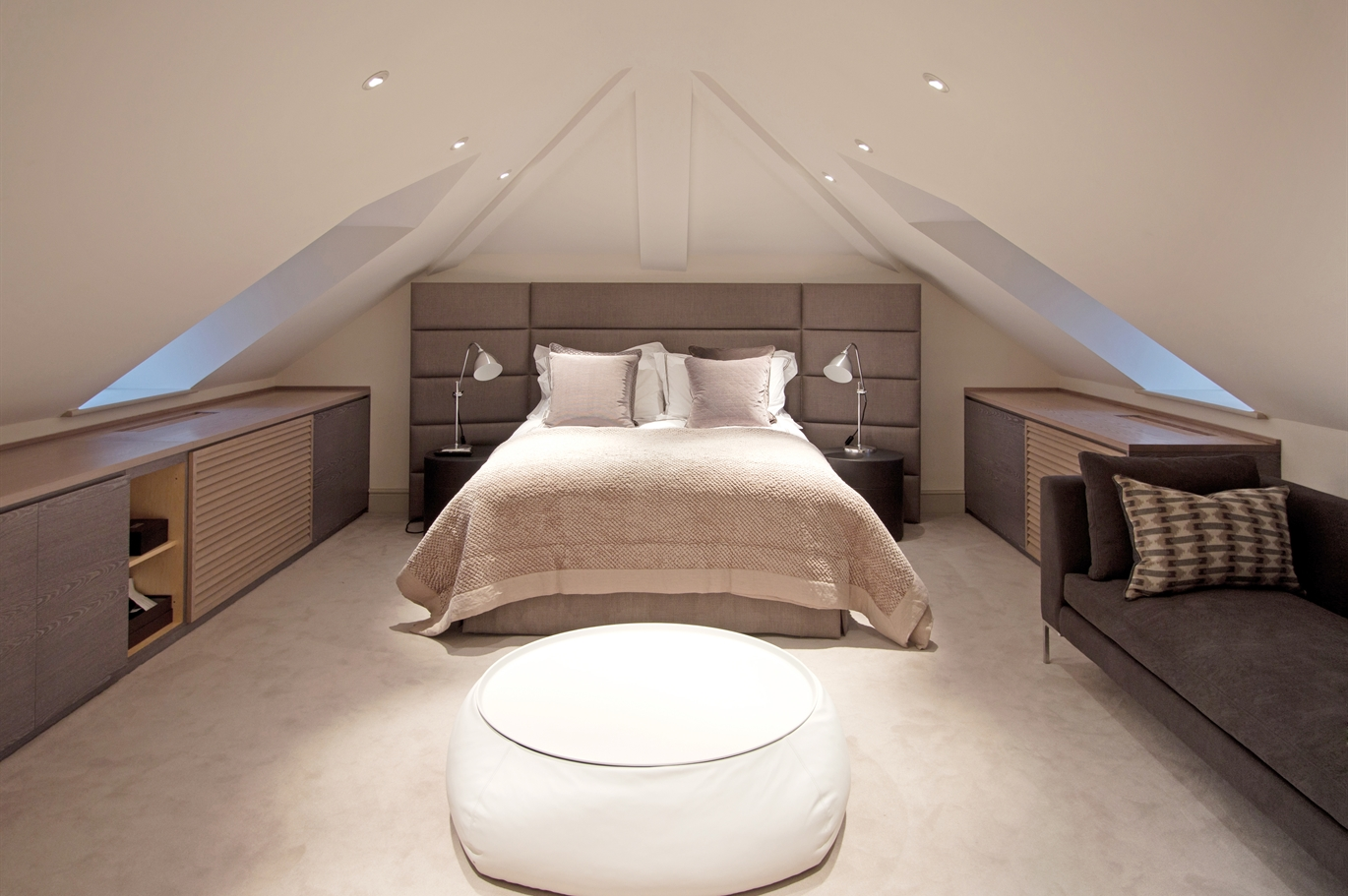 Luxury attic eaves loft conversion interior design