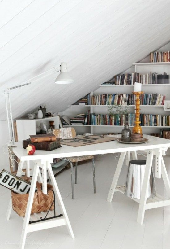 Small attic offices space design ideas
