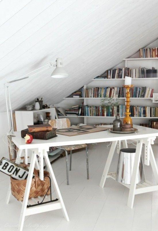 Small attic offices space design ideas