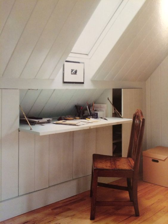 Loft conversion storage idea for desk