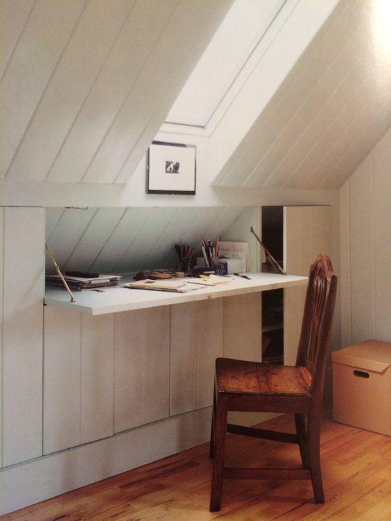 Loft conversion storage idea for desk