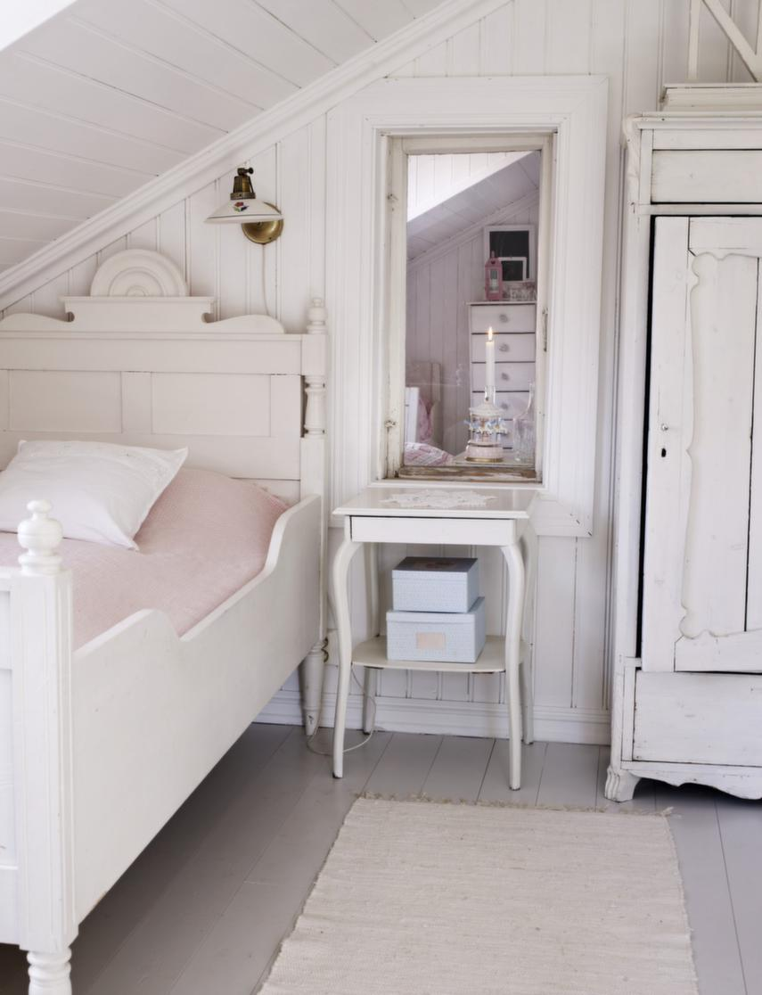 Wooden and white girls bedroom