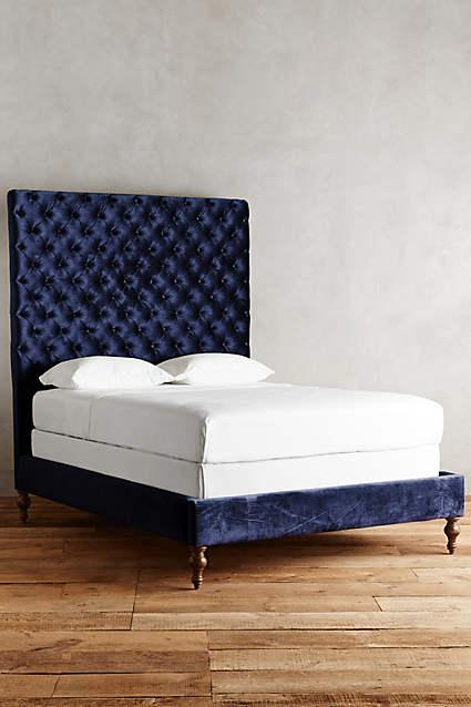 Luxury blue velvet headboard