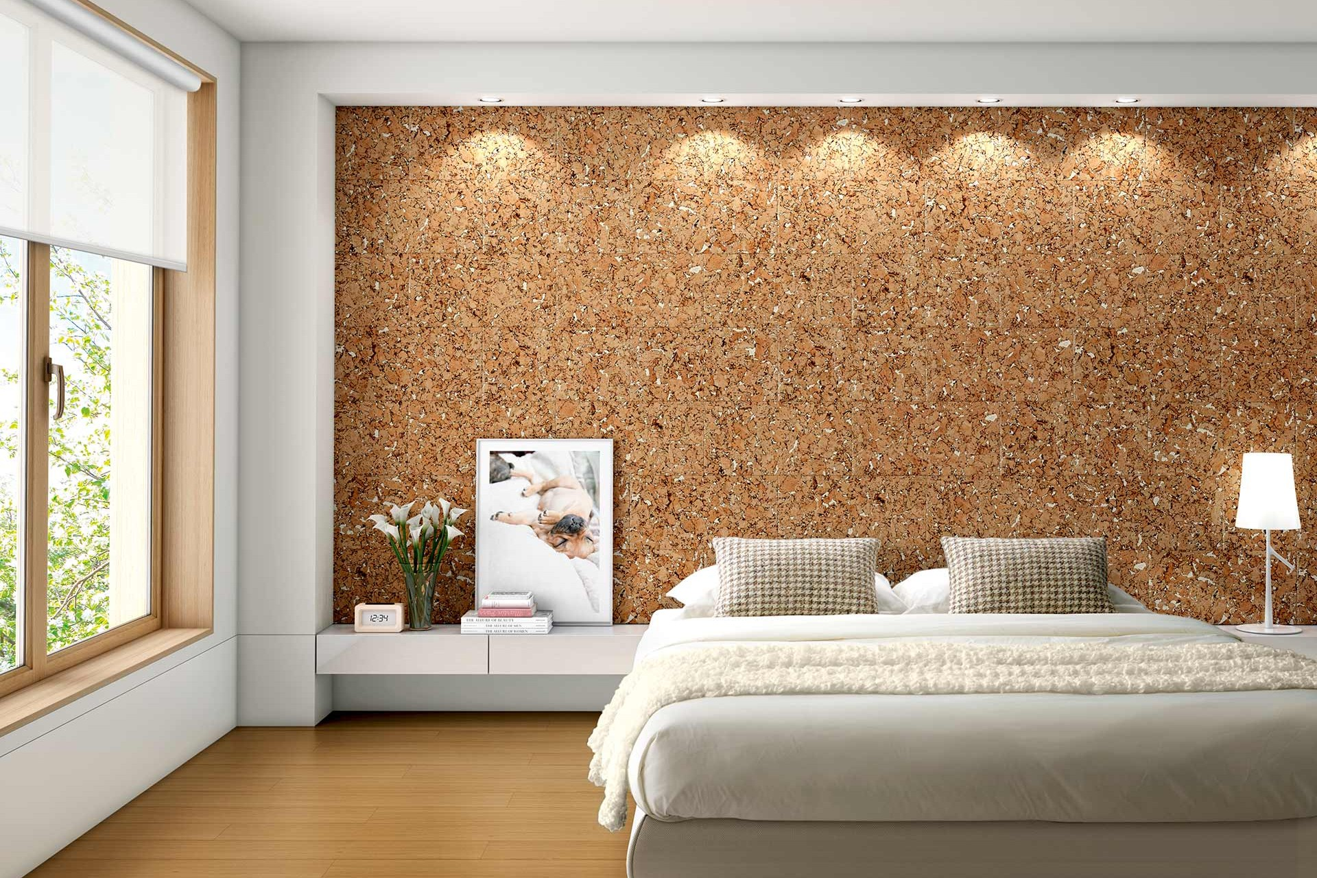 Cork headboard in bedroom